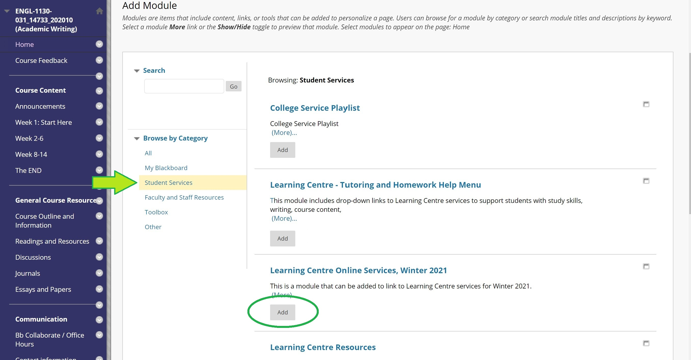 screen shot highlighting Add to Student Services Module in BlackBoard