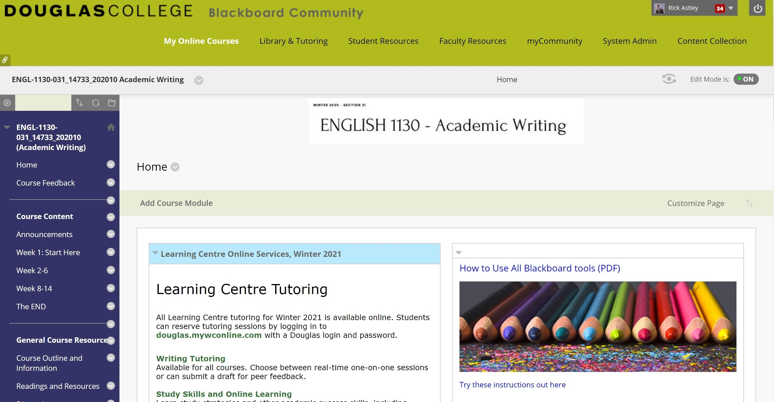 screen shot highlighting how to check your assed Module in BlackBoard