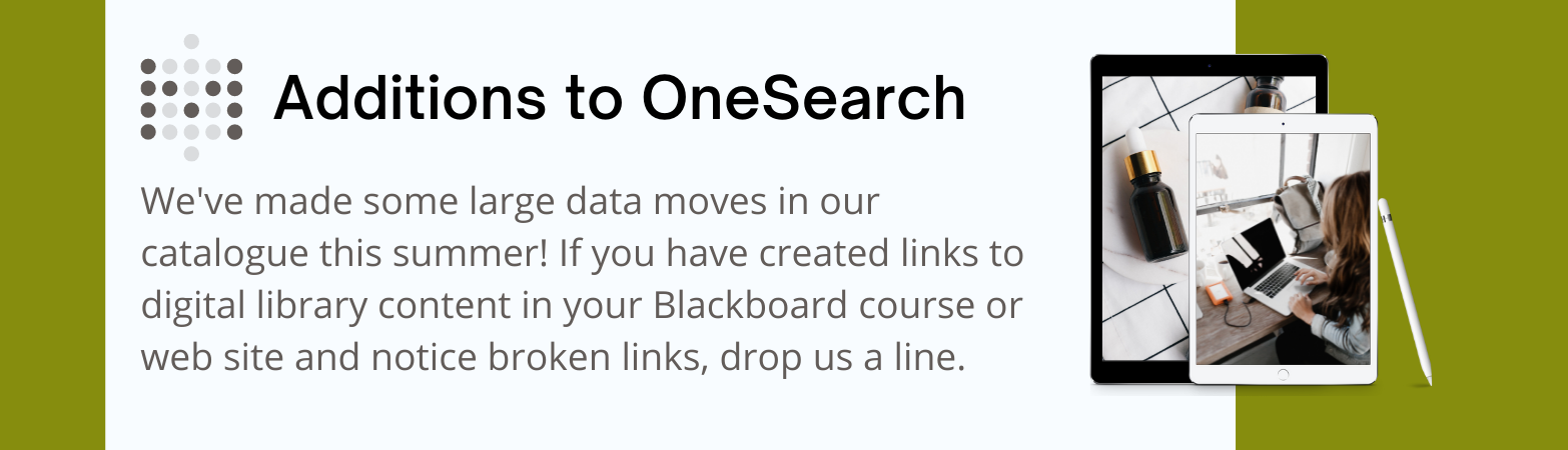 Additions to OneSearch