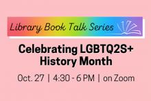 Call for Book Talkers for October's LGBTQ2S+ Book Talk series