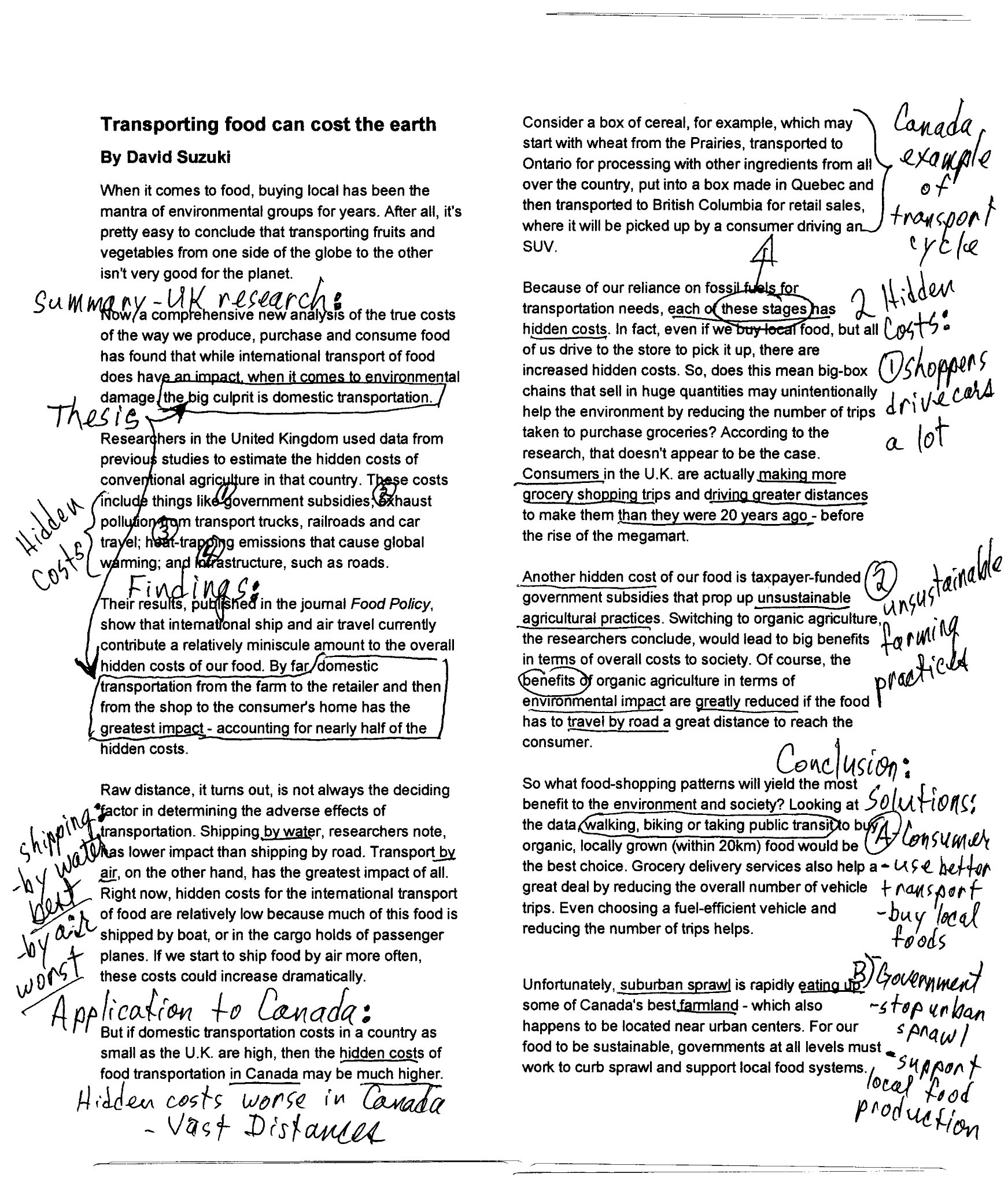 example of marked up document - Transporting food can cost the earth - David Suzuki